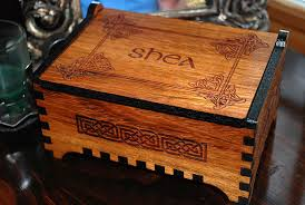 personalized wooden jewelry box custom wooden jewelry box celtic design laser cut and