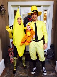 family of three halloween costume idea curious george inspiration