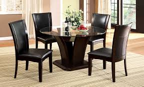 Glass Top Dining Table Set by Furniture Of America Coble Dark Cherry 5 Piece Round Glass Top
