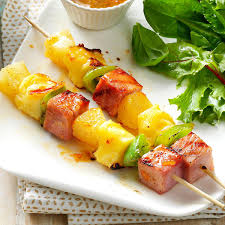 recipe for thanksgiving ham with pineapple swiss ham kabobs recipe taste of home