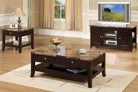 Marble Top Sofa Table by Rich Dark Mocha Contemporary Coffee Table W Marble Top