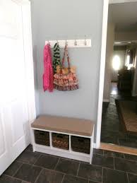 small organizer entryway corner bench with rattan basket and