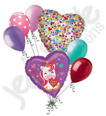 valentines day baloons 7 pc pretty unicorn i you happy valentines day balloon bouquet