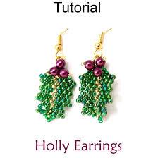 holly mistletoe beaded earrings christmas holiday jewelry making