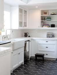 kitchen floor ideas with white cabinets black moroccan style tiles for a mid century modern kitchen with