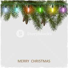 vector christmas card with fir tree branch and garland royalty