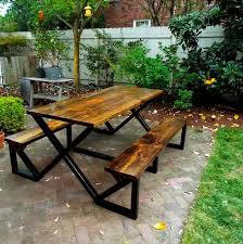 Diy Wood Picnic Table by Beautiful Metal And Wood Picnic Table 25 Best Ideas About Metal