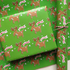 green christmas wrapping paper rudolph the reindeer wrapping paper or gift wrap set by half pint
