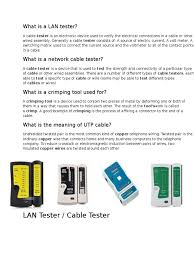 what is a lan tester cable manufactured goods