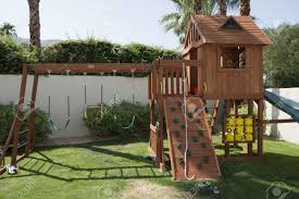 play equipment in backyard stock photo picture and royalty free