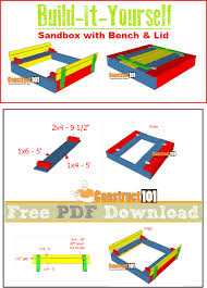 sandbox plans with bench u0026 lid pdf download sandbox shopping