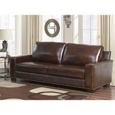 Abbyson Leather Sofa Reviews Abbyson Barrington Top Grain Leather Sofa Free Shipping Today
