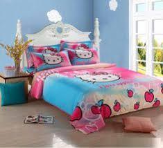 sky blue pink kitty polka dot print comforter single