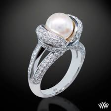 diamond pearl rings images Pearl wedding rings with diamonds jpg