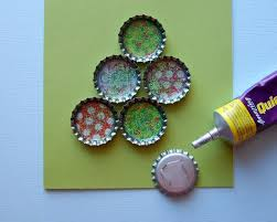the funky felter unique handmade bottle cap christmas tree card