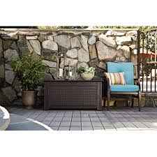 1859930 outdoor deck box storage bench with dark teak basket weave