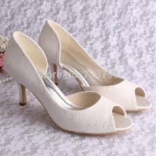wedding shoes open toe custom handmade wedding shoes white ivory lace bridal shoes