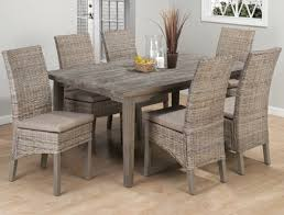Weathered Driftwood Grey Dining Table Banana Leaf Parsons Chairs - Grey dining room furniture