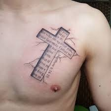 the bible verse in a cross on the chest