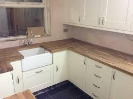 Shaker Cream Kitchen With Belfast Sink And Oak Worktops Dylan - Kitchen with belfast sink