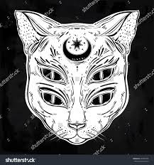 black cat head portrait moon four stock vector 479394796