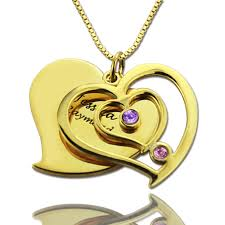 ring name necklace images His her birthstone heart name necklace 18k gold plated jpg
