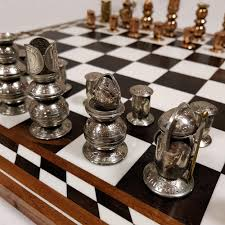 unusual chess sets handcrafted coin chess set home alchemy