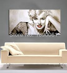 hanging canvas art without frame hand famous portrait drawings sexy marilyn monroe home decor modern