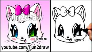 cute cat how to draw a cat face kitten with bow easy youtube