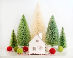 christmas ornament putz house diy kit cabin glitter house