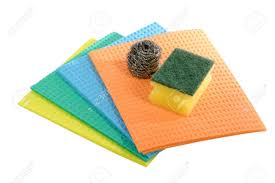 kitchen sponge cloth for do the dishes on white background stock