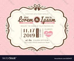 vintage frame wedding invitation card template vector image