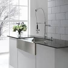 Stainless Steel Apron Front Kitchen Sinks Other Kitchen Interior Brown Stainless Steel Sink Placed On The
