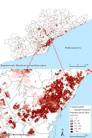 Population Map 6 Map Of Population Density In The Barcelona Metropolitan