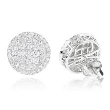 diamond cluster earrings halo diamond cluster earrings studs 1 61ct 14k gold