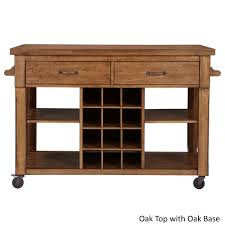 eleanor two tone rolling kitchen island with wine rack by inspire