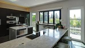 by dark brown wooden islands kitchen without windows design gray