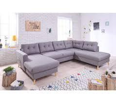 canapé grand canapé grand angle droit scandinave convertible tissu gris clair