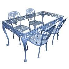 Glass Top Patio Table And Chairs Vintage Cast Aluminum And Iron Patio Table With Glass Top An