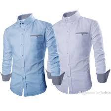 Baju Levis Biru hem boston ot pakaian pria kemeja slim fit warna biru muda dan