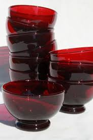 Red Glass Vases And Bowls Vintage Anchor Hocking Royal Ruby Red Glass Fruit Sauce Bowls