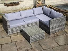 Rattan Outdoor  Seat Corner Sofa Patio Garden Furniture In Grey - Rattan outdoor sofas