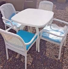 arte white resin outdoor wicker patio garden table furniture set