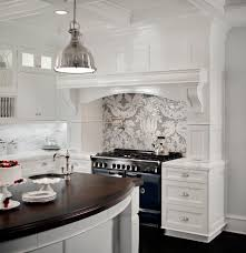 Silver Kitchen Canisters by Polished Mosaic Backsplash With Wood Countertop Kitchen