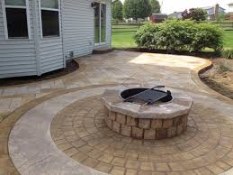 Patio Concrete Designs Exterior Walker Patio Concrete Design With Rounded Stamped