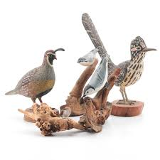 roy shehorn carved wooden bird figurines ebth