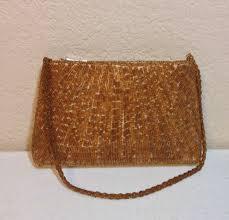vintage bijoux terner gold beaded formal handbag 8 5 wide 5 tall