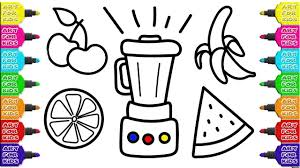 mixer and fruits to create juice coloring pages how to draw