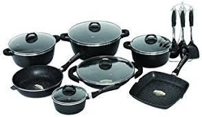 batterie de cuisine en schumann schumann professionnel sba2202700 black rock lot de 27 pièces