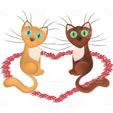 imagenes de amor con muñecos animados dibujos animados gatos que está en el amor arte vectorial de stock